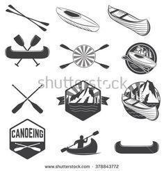 Set of vintage mountain rafting kayaking paddling for Canoe paddle tattoo