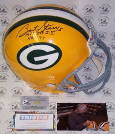 Bart Starr Autographed Hand Signed Green Bay Packers Throwback Full Size Authentic Football Helmet - with MVP SB I,II & HOF 77 Inscriptions - PSA/DNA This Green Bay Packers Throwback Authentic Pro Line Football Helmet has been hand signed by Bart Starr. Mr. Starr added the MVP SB (Super Bowl) I, II & HOF (Hall of Fame) 77 Inscriptions. The Helmet will include the PSA/DNA presence sticker affixed to the helmet, the photo of Bart https://luxury.boutiquecloset.com/product/bart-s