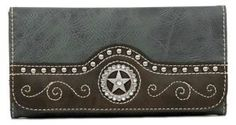 Nocona Blue Faux Leather w/ Star Concho Wallet | Cavender's