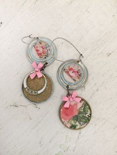 cottageupcycled dangle earrings altered collage earrings by Arey