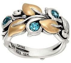 Barbara Bixby Sterling & 18K Semi-Precious Gemstone Vine Ring