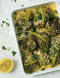 "Low-carb ""Grannies in Blankets"":  tender meatballs wrapped in cabbage and baked in a creamy lemon sauce. This is one of my new recipes, just published in ""Real Food: Healthy, Happy Children"", by Kath Megaw (Quivertree, 2015). Find the recipe and details of this amazing new book on my blog. #lowcarb #LCHF"