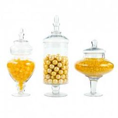 of 3 Couture Apothecary Jars - Glass Candy Buffet Jars : Wholesale Wedding Supplies, Discount Wedding Favors, Party Favors, and Bulk Event Supplies Candy Buffet Jars, Candy Buffet Supplies, Dessert Buffet, Candy Table, Dessert Tables, Candy Dishes, Party Supplies, Glass Apothecary Jars, Glass Jars