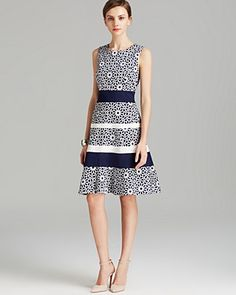Anne Klein Dress - Sleeveless Print Swing Fit and Flare | Bloomingdale's