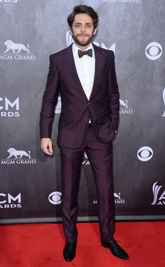 Thomas Rhett from 2014 ACM Awards Red Carpet Arrivals Purple Tuxedo, Purple Suits, Maroon Wedding, Purple Wedding, Maroon Suit, Polka Dot Bow Tie, Thomas Rhett, Country Music Artists, Home Team