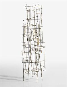 """moodboardmix: """"Harry Bertoia, Untitled (Welded Form), circa Brass-Coated Xelded Steel, 33 x 10 x 6 14 in. x x cm), Sotheby's. Harry Bertoia, Metal Art Sculpture, Contemporary Art, Sculptures, Steel, Artwork, Ebay, Brass, Visual Arts"""