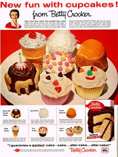1957 Betty Crocker ad for Cupcakes
