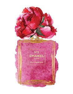 Chanel No5 art 8.5x11 Pink Peony watercolor Gold by hellomrmoon