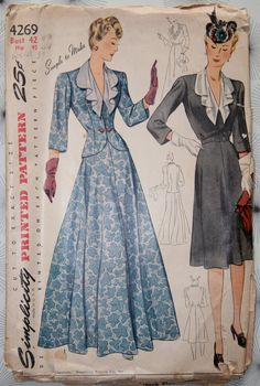 1940s Simplicity 4269 Vintage Sewing Pattern Womens Jacket and Dress in Daytime and Evening Length Bust 42 UC FF. $40,00, via Etsy.