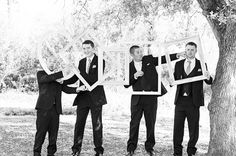 Fun Groomsmen Picture | DIY Wedding Decor | Picture Frames | Black and White Wedding Picture | Photo by Photography For A Reason