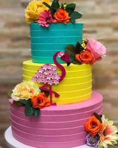 Wow check out this magnificent photo - what an inventive design and style Flamingo Party, Flamingo Cake, Flamingo Birthday, Hawaiian Birthday, Luau Birthday, Birthday Parties, Birthday Cakes, Mousse Au Chocolat Torte, Buttercream Designs