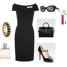 Not so basic black. Dior dress, Yves Saint Laurent bag, Christian Louboutin shoes, Prada sunglasses....truly iconic fashion. ♥