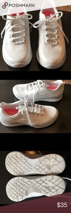 Skechers woman's memory foam tennis shoes. These were literally worn one time , they are brand new just purchased. They are in perfect condition , the only reason I am selling them is they were a little too narrow for my wide feet. Skechers Shoes Athletic Shoes
