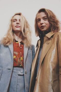 Soft blue corduroy and camel patent coat backstage at Topshop Unique AW15 LFW. See more here: http://www.dazeddigital.com/fashion/article/23727/1/topshop-unique-aw15-livestream