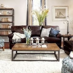Brown Leather Couch Living Room Seating Options For Small How To Decorate With Furniture Real Apartment 25 Colors Ideas