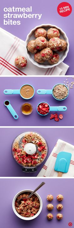 21 DF Oatmeal Strawberry Bites: Mix oats, sunflower butter, honey & vanilla in food processor until blended, add strawberries until coarsely chopped, roll and press mixture into balls. Baby Food Recipes, Snack Recipes, Cooking Recipes, Healthy Recipes, Dinner Recipes, Free Recipes, Brunch, Quotes Vegan, Tasty