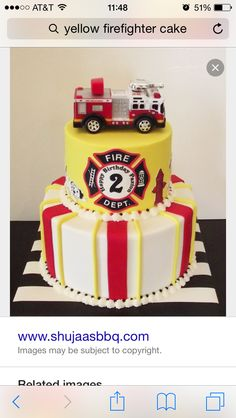 Little Fireman Birthday Cake Fireman Birthday Party Birthday Más Firefighter Birthday Cakes, Fireman Cake, Fireman Birthday, Fireman Party, Fire Fighter Cake, Birthday Cake Pinterest, Cupcakes, Birthday Party Themes, 3rd Birthday