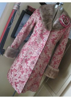 Upcycled Red & Tan Brocade Women's Coat