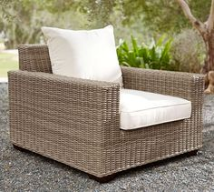 Torrey All-Weather Wicker Square Arm Occasional Chair - Natural | Pottery Barn