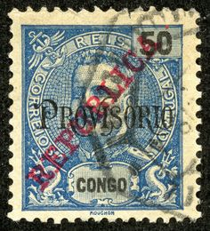 Portuguese Congo 1915 Scott 137 50r blue Provisional Issue of 1902 overprinted