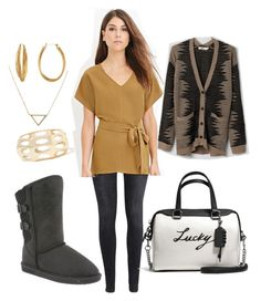 """Boshie Will Bring You Luck"" by bearpawstyle on Polyvore featuring Bearpaw, H&M, Coach, Diane Von Furstenberg and Banana Republic"