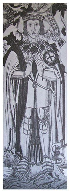 Drawing of Thomas Boleyn's memorial brass from Tudor Faces: Two New Faces: the Hornebolte Portraits of Mary and Thomas Boleyn?