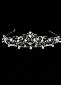 """Tall Silver Tiara with Metal Scroll, Rhinestones, and Pearls.   Available in Silver.  Measures 14"""" L x 1 3/4""""H x 5 1/2"""" W.  Imported."""