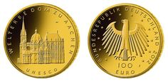 German 100 Euro gold coin 2012 Aachen 1/ 2 oz