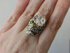 "Купить 17 р-р кольцо ""Бабочка"" розовый кварц, изумруд серебро 925 золото"
