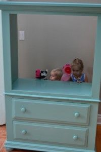 An Old TV Stand With The Backing Removed. A Little Paint And You Have A  Puppet Theatre. Could Use Some Curtains Fu2026 | At Number 10 Furniture And  Decor ...