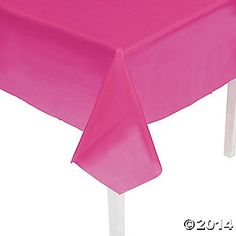 Hot Pink Tablecloth - They have these in a few different colors. Lime, blue, yellow. Awesome colors! :D