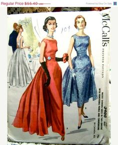 Vintage 50's McCalls Pattern,  Evening Dress, ruched waist band, wide elegant neckline with low back