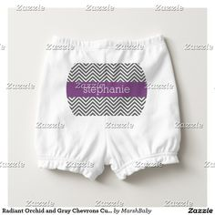 Radiant Orchid and Gray Chevrons Custom Name Diaper Cover