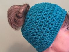 Free Crochet Pattern for Messy Bun Ponytail Hat on The Crochet Crowd