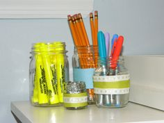 Glass Jars as DIY Office Organization- paint the inside or tie ribbon on top!