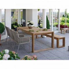 Design Gartenmöbel Set Stern Greta 5 Tlg Diningset Alu/Textilene/Teak Braun/