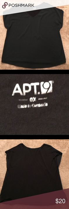 APT9 Black Top Size 0X 💋 Very cute black top! Front is polyester material and back is soft stretchy material (feels like jersey) so it looks professional without feeling stuffy! From Kohl's APT9 line in size 0X.  Very gently worn and from smoke/pet free home! Apt. 9 Tops Blouses