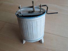 Waschtrommel Waschzuber weiß blau Blech Spielzeug 20er mechanisch Puppen Zubehör    eBay