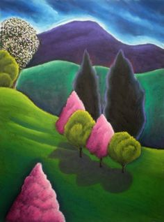 Three Pink Trees Makes a Duo with Blaze ~ Jane Aukshunas,naif Landscape Quilts, Abstract Landscape, Landscape Paintings, Abstract Paintings, Art Paintings, Landscapes, Art Quilling, Naive Art, Whimsical Art
