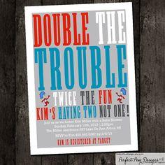 Twins Baby Shower Invitation boy twins by PerfectPearDesigns, $15.20