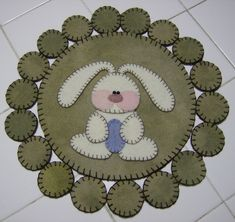 Image detail for -Easter Bunny Wool Penny Rug by QuiltgirlsCreations on Etsy Penny Rug Patterns, Wool Applique Patterns, Felt Embroidery, Felt Applique, Quilting Projects, Sewing Projects, Felt Projects, Wool Wall Hanging, Felted Wool Crafts