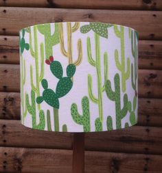 Cacti Design Fabric Covered Lampshade. by Lightflightlighting