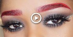 Red Eyebrows, Dark Brows, How To Color Eyebrows, Red Lip Makeup, Cut Crease Makeup, Eyebrow Makeup, Red Smokey Eye, Neutral Smokey Eye, Lip Makeup Tutorial