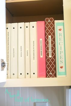 Recipes and home management binders in cabinet -- this is what I aim for, but somehow my recipes always get mixed up again.