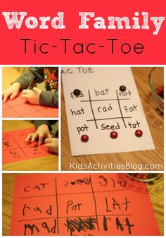 Word Family Tic-Tac-Toe {Reading Game} by Kristina at Kids Activities Blog Reading Games For Kids, Reading Activities, Kids Learning, Early Learning, Activities For Kids, Sight Word Games, Sight Words, Writing Practice, Writing Skills