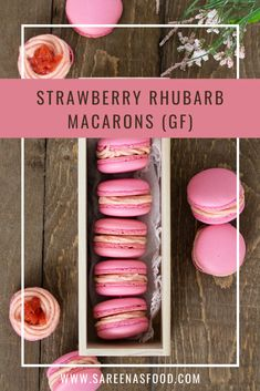 I learned to make macarons last month, and I am now addicted to baking them! I usually don't like baking at all, but I find this enjoyable! Since there is still so much snow here, I wanted so… Gluten Free Rhubarb Recipes, Gluten Free Desserts, Vegan Desserts, Vegan Recipes, French Macarons Recipe, Macaron Recipe, Rhubarb Desserts, Strawberry Desserts, Rhubarb Preserves