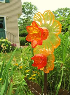 Vintage Glass Garden Art Plate Flower, Glass Art Re Purposed, Upcycled,  Recycled