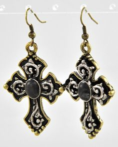 Black stone antique gold cross earrings from www.countrysoulbling.com