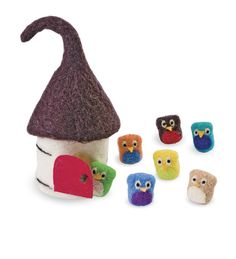 Wool Felt Owls and House Set.  Most adorable website with childrens products!