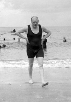 Winston Churhill at the beach, Dieppe, Northern France, 1911.